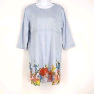Soft Surroundings Audrey Dress Floral Blue Medium